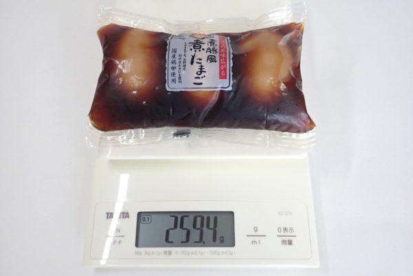 百均浪漫◆煮豚風煮たまご3個入。総重量約259g。