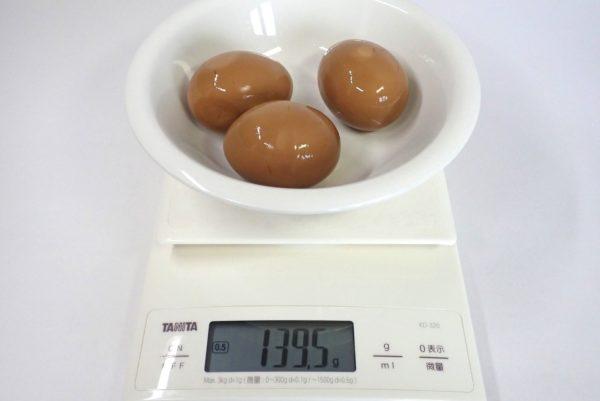 百均浪漫◆煮豚風煮たまご3個入。タレなしで重さを測ってみる。